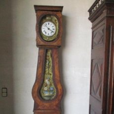 Relojes de pie: ANTIGUO RELOJ DE PIE - MAQUINA MOREZ - CAJA DE MADERA, PINTADA A MANO - SONERÍA DE CAMPANA - S. XIX. Lote 134430273