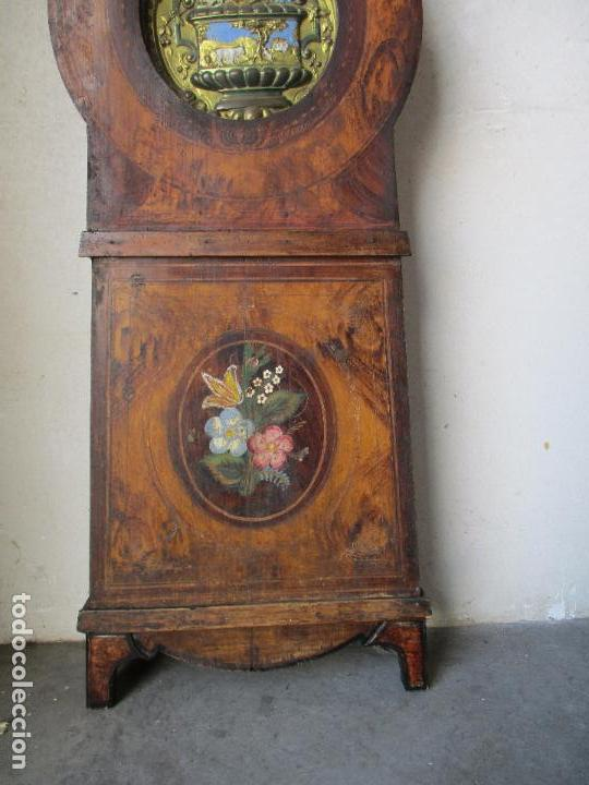 Relojes de pie: Antiguo Reloj de Pie - Maquina Morez - Caja de Madera, Pintada a Mano - Sonería de Campana - S. XIX - Foto 2 - 82419124