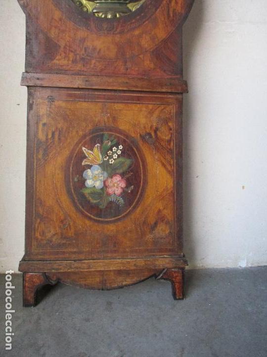 Relojes de pie: Antiguo Reloj de Pie - Maquina Morez - Caja de Madera, Pintada a Mano - Sonería de Campana - S. XIX - Foto 3 - 82419124