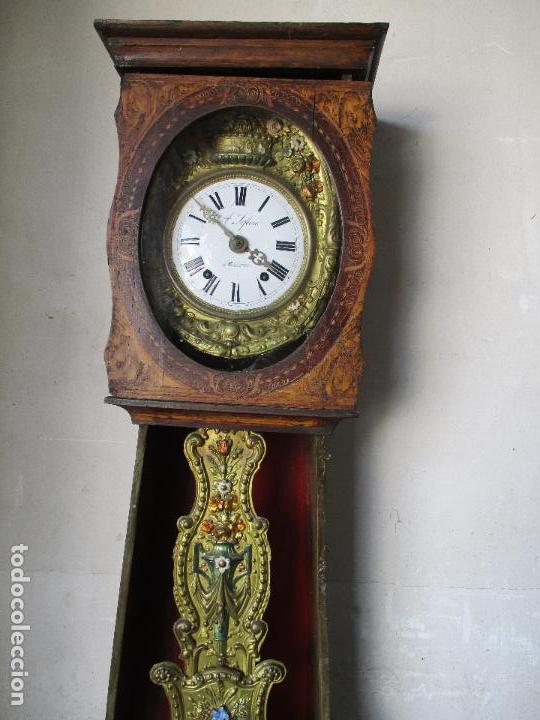 Relojes de pie: Antiguo Reloj de Pie - Maquina Morez - Caja de Madera, Pintada a Mano - Sonería de Campana - S. XIX - Foto 8 - 82419124