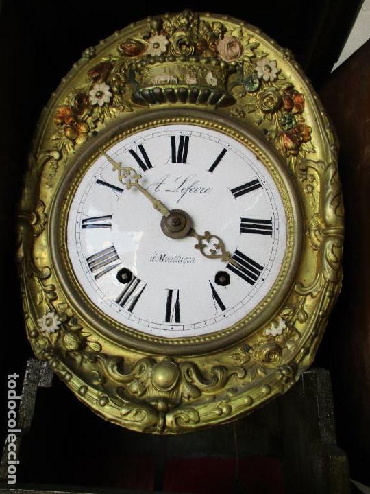 Relojes de pie: Antiguo Reloj de Pie - Maquina Morez - Caja de Madera, Pintada a Mano - Sonería de Campana - S. XIX - Foto 11 - 82419124