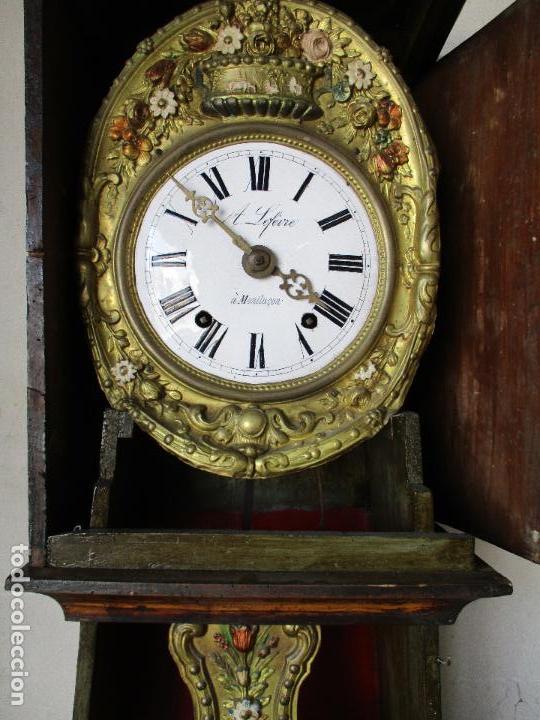 Relojes de pie: Antiguo Reloj de Pie - Maquina Morez - Caja de Madera, Pintada a Mano - Sonería de Campana - S. XIX - Foto 12 - 82419124