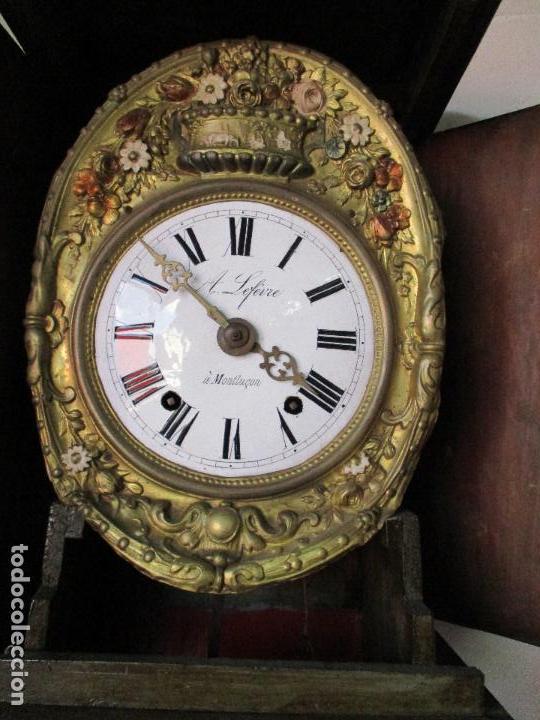 Relojes de pie: Antiguo Reloj de Pie - Maquina Morez - Caja de Madera, Pintada a Mano - Sonería de Campana - S. XIX - Foto 14 - 82419124