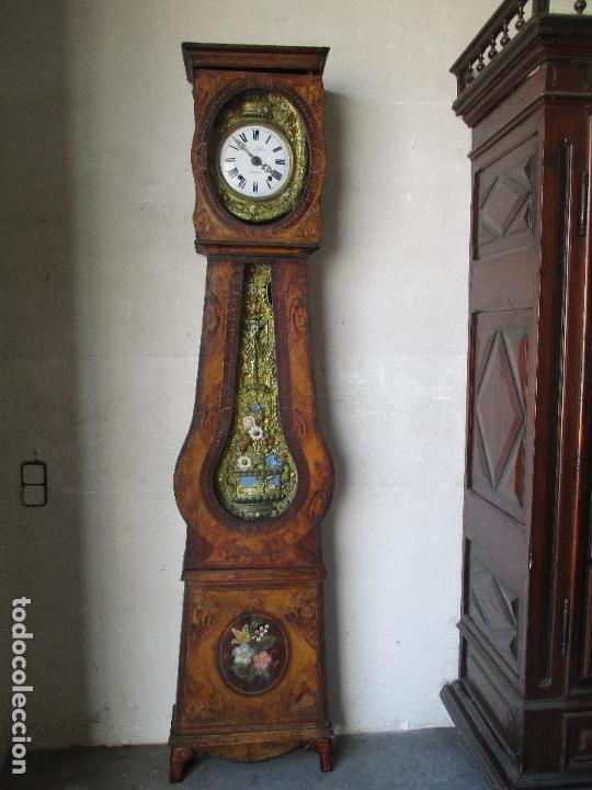 Relojes de pie: Antiguo Reloj de Pie - Maquina Morez - Caja de Madera, Pintada a Mano - Sonería de Campana - S. XIX - Foto 20 - 82419124