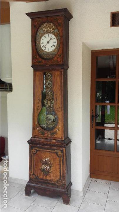 RELOJ MOREZ DE 1815 CON PÉNDULO DE AUTÓMATA, CAZADOR Y PALOMA (Relojes - Pie Carga Manual)