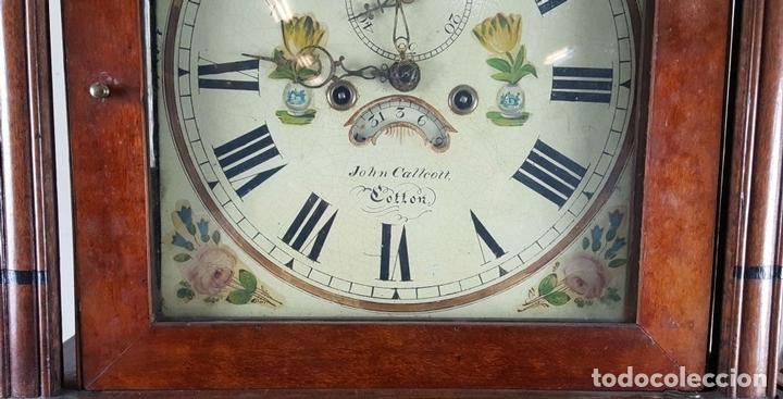 Relojes de pie: RELOJ DE PIE. MUEBLE DE CAOBA Y ROBLE. JOHN CALCOTT. INGLATERRA. SIGLO XVIII-XIX. - Foto 3 - 109270551