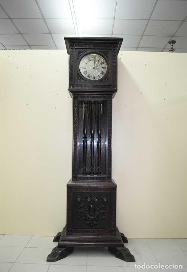 Relojes de pie: RELOJ ANTIGUO DE PIE CAJA DE MADERA TALLADA - Foto 2 - 120427187