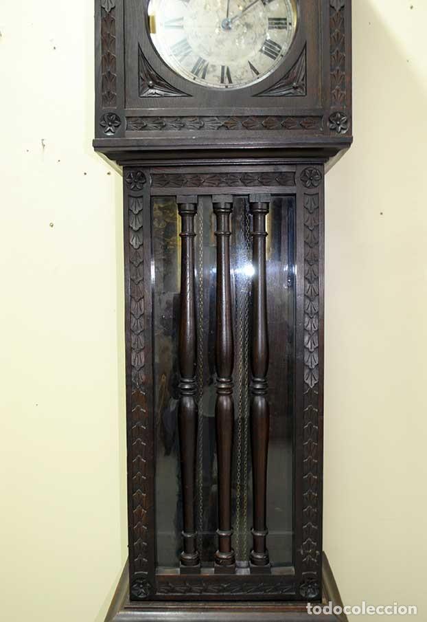 Relojes de pie: RELOJ ANTIGUO DE PIE CAJA DE MADERA TALLADA - Foto 3 - 120427187