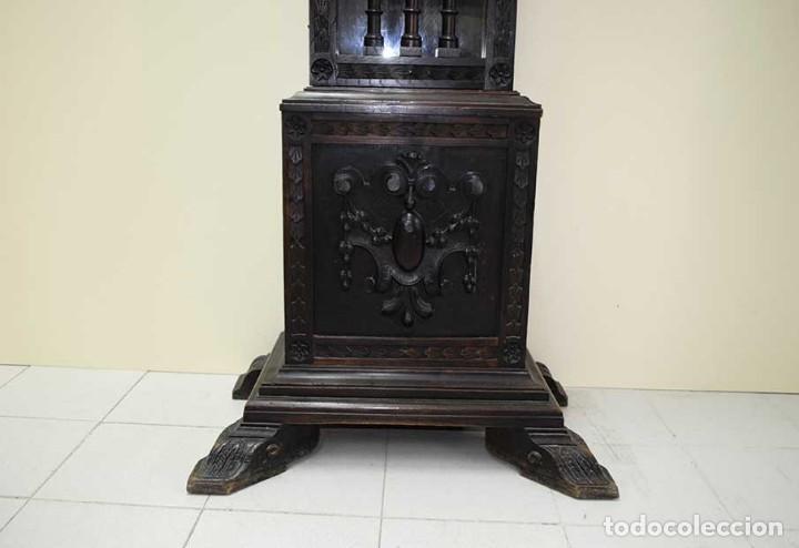 Relojes de pie: RELOJ ANTIGUO DE PIE CAJA DE MADERA TALLADA - Foto 4 - 120427187