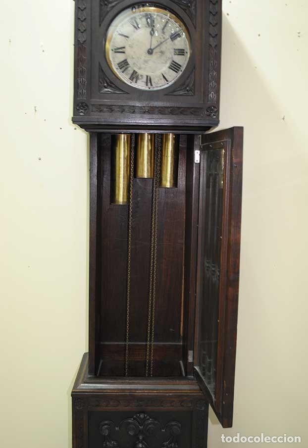 Relojes de pie: RELOJ ANTIGUO DE PIE CAJA DE MADERA TALLADA - Foto 5 - 120427187