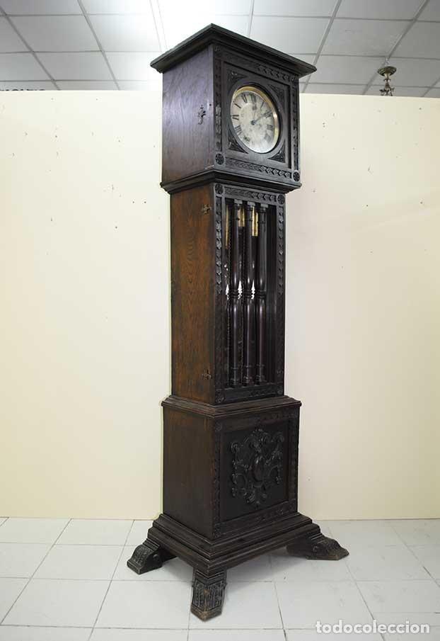 Relojes de pie: RELOJ ANTIGUO DE PIE CAJA DE MADERA TALLADA - Foto 6 - 120427187