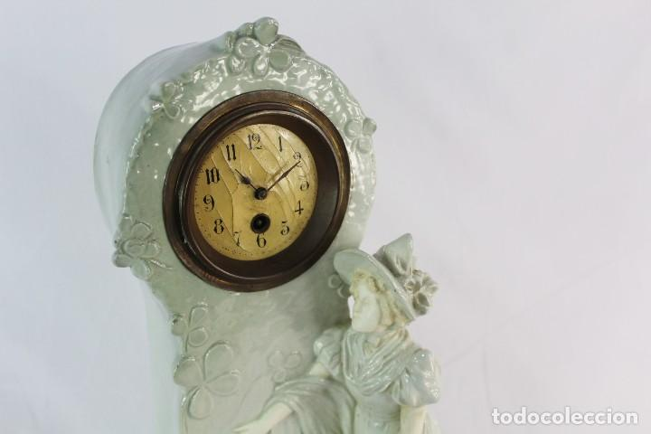Relojes de pie: Bellísimo reloj en porcelana de pps s XX Art Nouveau - Foto 6 - 135394810