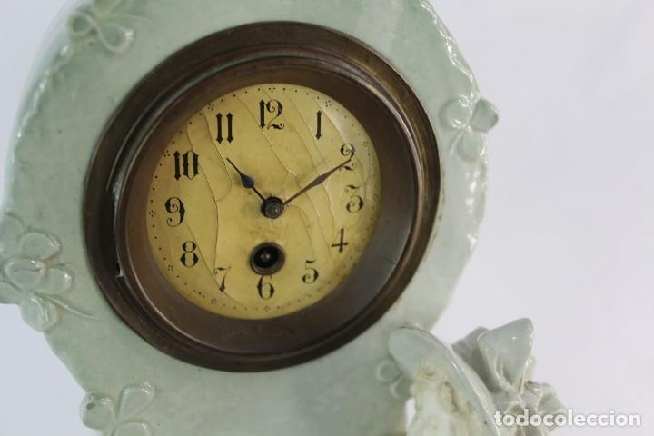 Relojes de pie: Bellísimo reloj en porcelana de pps s XX Art Nouveau - Foto 12 - 135394810