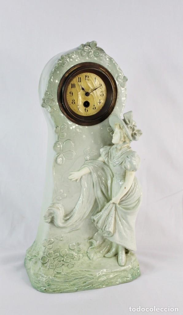 Relojes de pie: Bellísimo reloj en porcelana de pps s XX Art Nouveau - Foto 14 - 135394810