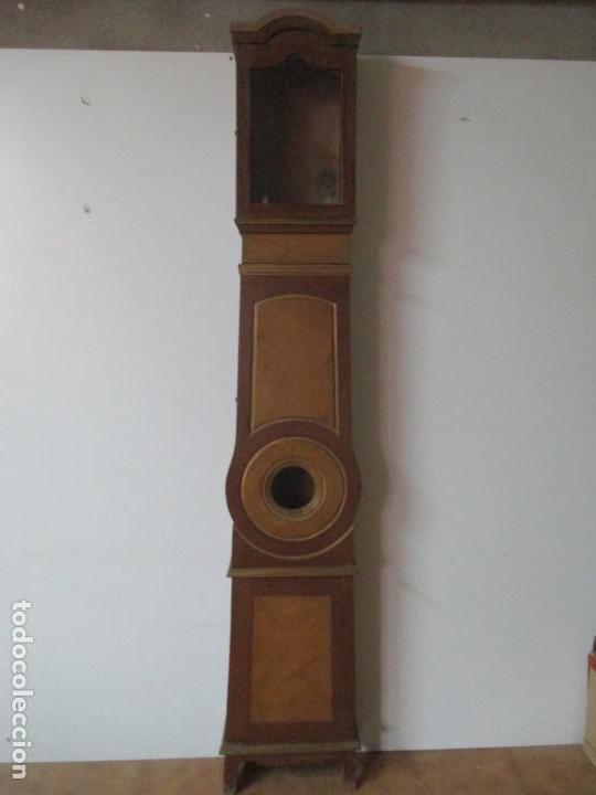 RELOJ DE PIE - CAJA DE RELOJ MOREZ - MADERA DE PINO, POLICROMADO - PINTADO A MANO - S. XIX (Relojes - Pie Carga Manual)
