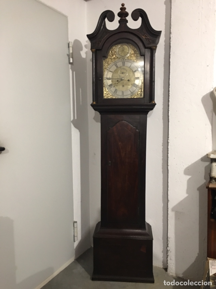 ANTIGUO RELOJ INGLÉS DE PIE - SIGLO XVIII - FUNCIONANDO (Relojes - Pie Carga Manual)