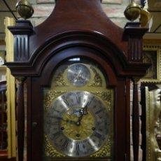Relojes de pie: RELOJ CARRILLÓN CAJA DE MADERA PIÉ. CUERDA MANUAL DE LLAVE. TEMPUS FUJIT-BELLS. . Lote 143701842