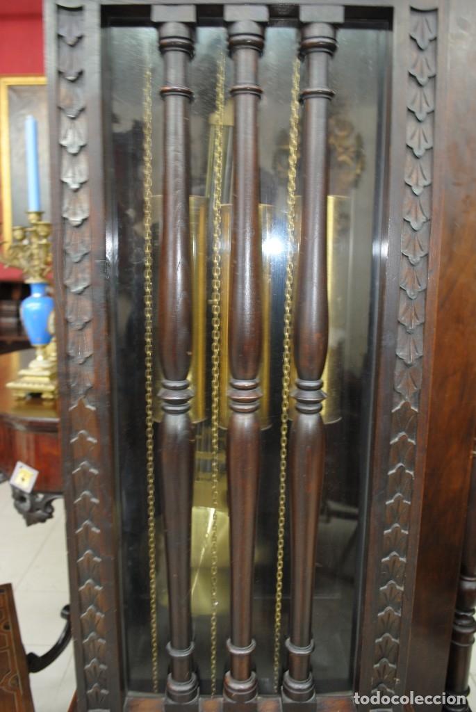 Relojes de pie: RELOJ ANTIGUO DE PIE CAJA DE MADERA TALLADA - Foto 9 - 120427187