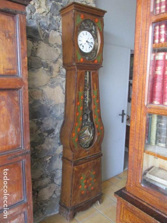 RELOJ DE PARED - MAQUINA MOREZ, HUTEREAU , MOVIMIENTO BARCO - CAJA FIRMADA MELLARD -FUNCIONA -S. XIX (Relojes - Pie Carga Manual)