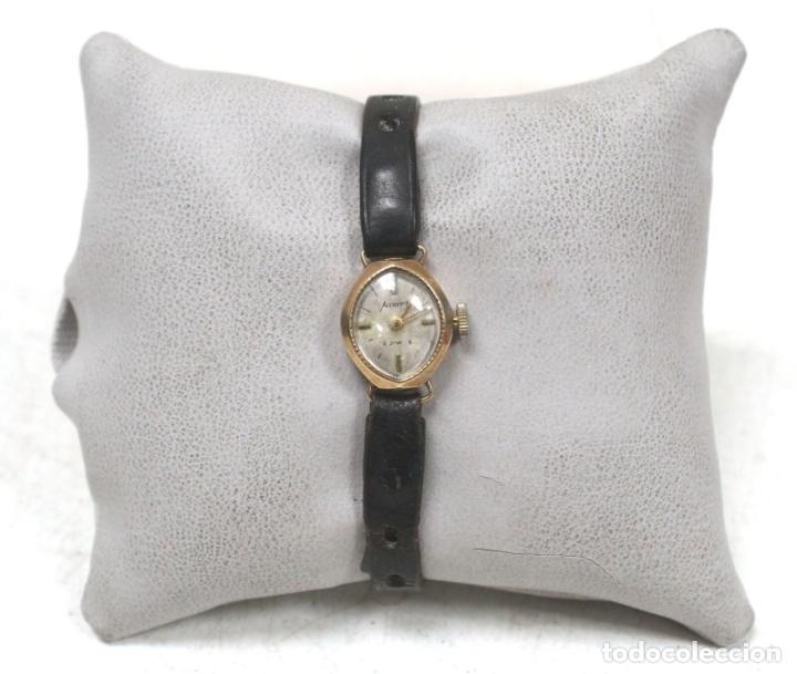 VINTAGE RELOJ ORO MACIZO AMARILLO PULSERA MECÁNICO DAMAS VINTAGE ACCURIST . (Relojes - Pie Carga Manual)