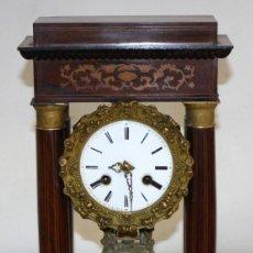 Relojes de pie: RELOJ DE PORTICO - MARQUETERIA BOJ - CAOBA Y BRONCE AL MERCURIO - SG XIX.. Lote 172090934