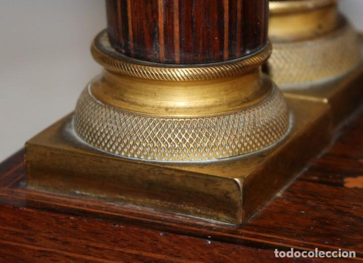Relojes de pie: RELOJ DE PORTICO - MARQUETERIA BOJ - CAOBA Y BRONCE AL MERCURIO - SG XIX. - Foto 9 - 172090934
