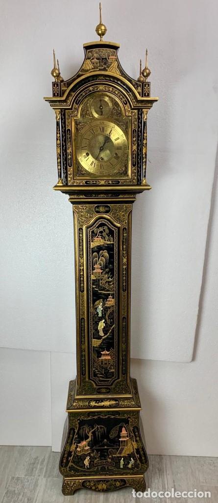 Relojes de pie: ANTIGUO RELOJ DE PIE CON CAJA EN MADERA DECORACIÓN RELIEVES MOTIVOS CHINOS ,FUNCIONANDO CON SONERÍA - Foto 3 - 173823762