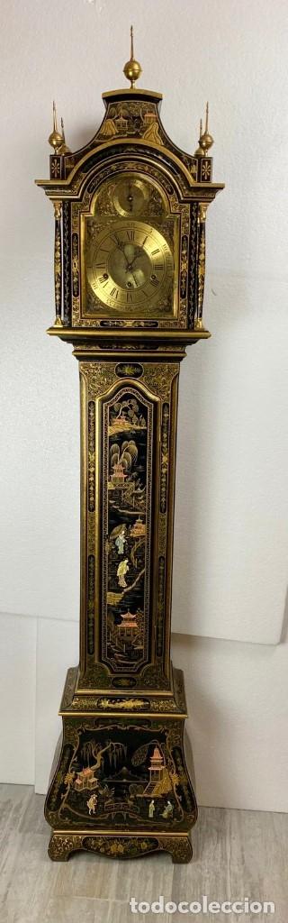 Relojes de pie: ANTIGUO RELOJ DE PIE CON CAJA EN MADERA DECORACIÓN RELIEVES MOTIVOS CHINOS ,FUNCIONANDO CON SONERÍA - Foto 9 - 173823762