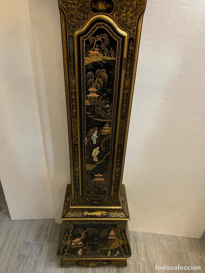 Relojes de pie: ANTIGUO RELOJ DE PIE CON CAJA EN MADERA DECORACIÓN RELIEVES MOTIVOS CHINOS ,FUNCIONANDO CON SONERÍA - Foto 12 - 173823762
