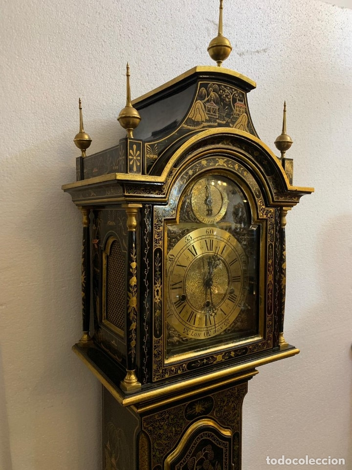 Relojes de pie: ANTIGUO RELOJ DE PIE CON CAJA EN MADERA DECORACIÓN RELIEVES MOTIVOS CHINOS ,FUNCIONANDO CON SONERÍA - Foto 14 - 173823762