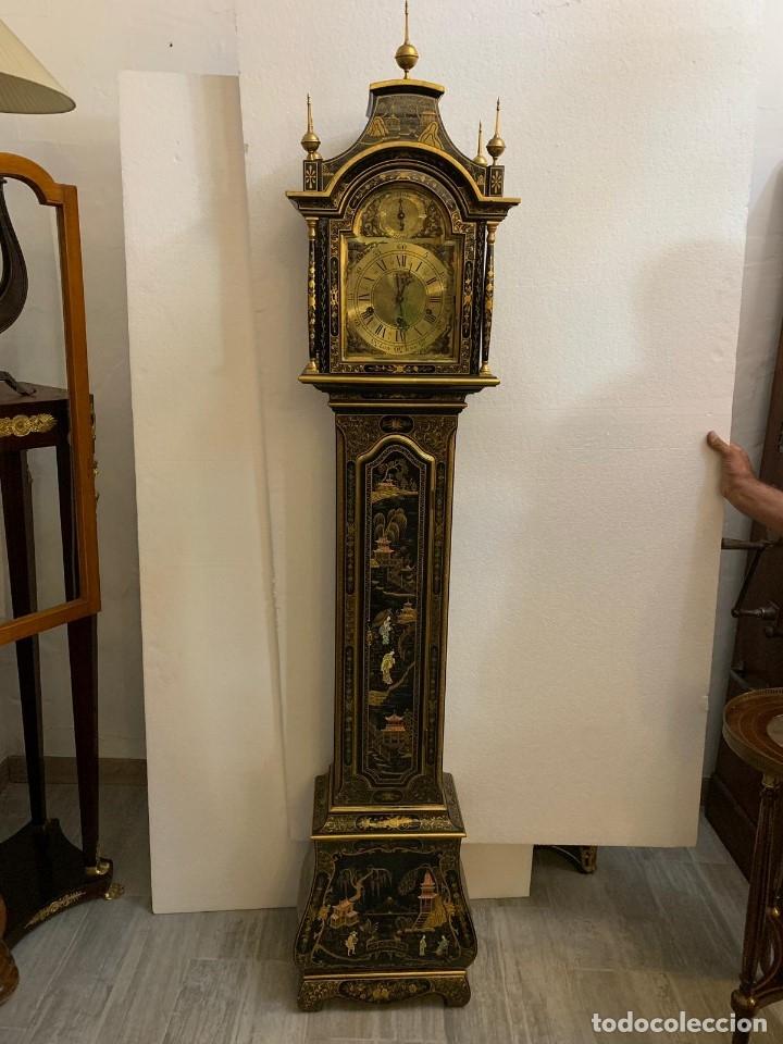 Relojes de pie: ANTIGUO RELOJ DE PIE CON CAJA EN MADERA DECORACIÓN RELIEVES MOTIVOS CHINOS ,FUNCIONANDO CON SONERÍA - Foto 15 - 173823762
