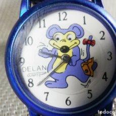 Relojes de pie: GRAN RELOJ DELAN INFANTIL AÑOS 80 FIN STOK RATON MOVIENDO LOS OJOS LOTE WATCHE. Lote 173868905