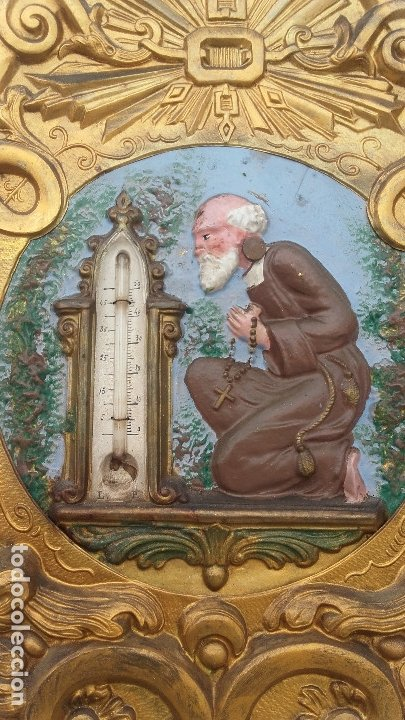 RELOJ MOREZ DE PÉNDULO DE MONJE CON TERMÓMETRO (Relojes - Pie Carga Manual)