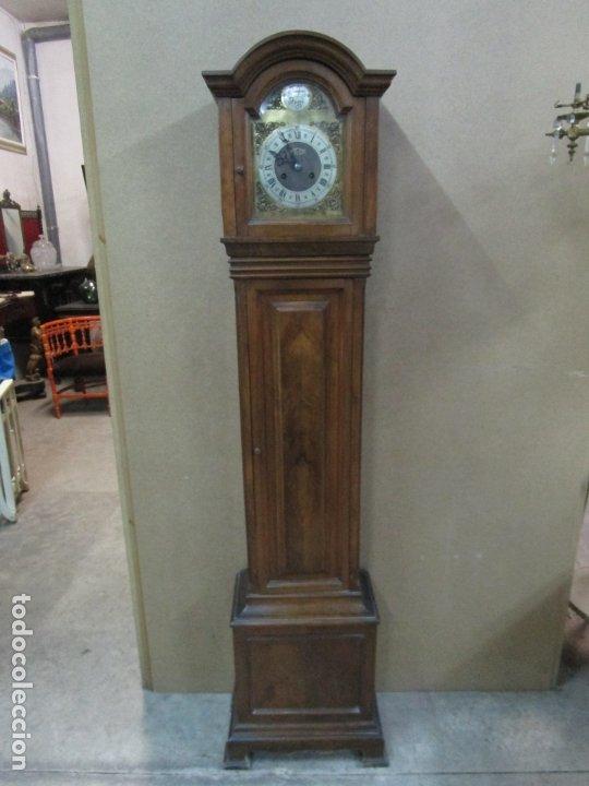 RELOJ DE PIE - TEMPUS FUGIT - MARCA ROMAN - MADERA DE NOGAL - FUNCIONA - 172 CM ALTURA (Relojes - Pie Carga Manual)