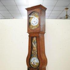 Relojes de pie: RELOJ ANTIGUO DE PIE TIPO MOREZ CAJA DE MADERA Y MARQUETERÍA. Lote 185770253