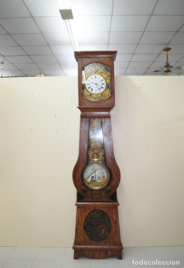Relojes de pie: RELOJ ANTIGUO DE PIE TIPO MOREZ CAJA DE MADERA Y MARQUETERÍA - Foto 2 - 185770253