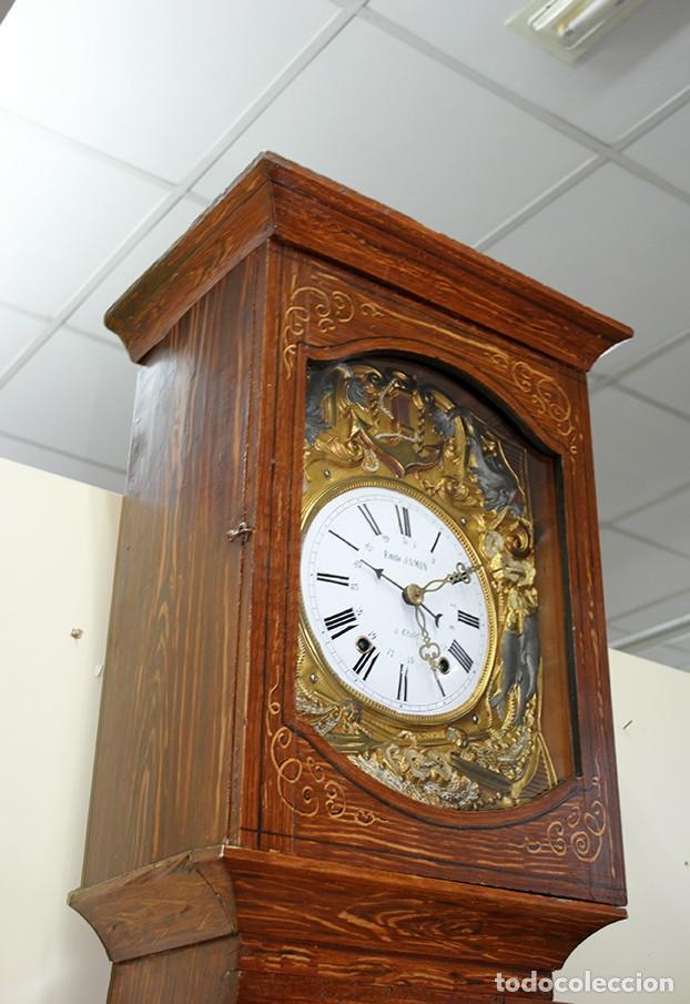 Relojes de pie: RELOJ ANTIGUO DE PIE TIPO MOREZ CAJA DE MADERA Y MARQUETERÍA - Foto 3 - 185770253