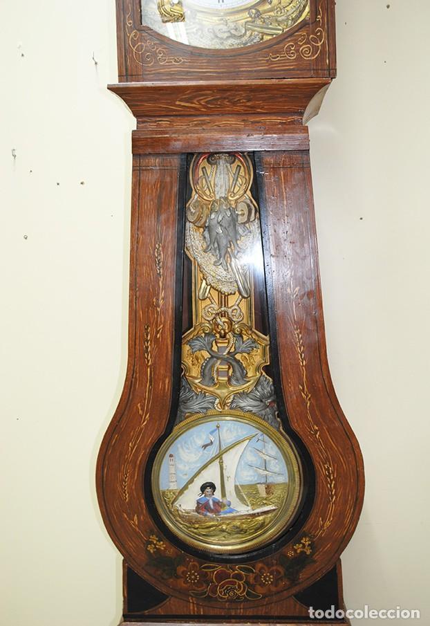 Relojes de pie: RELOJ ANTIGUO DE PIE TIPO MOREZ CAJA DE MADERA Y MARQUETERÍA - Foto 4 - 185770253
