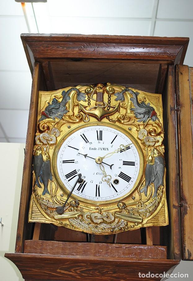 Relojes de pie: RELOJ ANTIGUO DE PIE TIPO MOREZ CAJA DE MADERA Y MARQUETERÍA - Foto 6 - 185770253