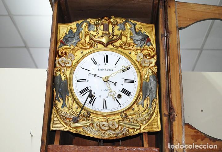 Relojes de pie: RELOJ ANTIGUO DE PIE TIPO MOREZ CAJA DE MADERA Y MARQUETERÍA - Foto 7 - 185770253