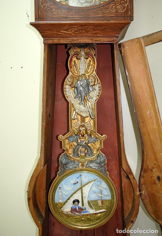 Relojes de pie: RELOJ ANTIGUO DE PIE TIPO MOREZ CAJA DE MADERA Y MARQUETERÍA - Foto 8 - 185770253