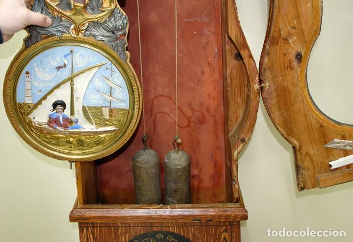 Relojes de pie: RELOJ ANTIGUO DE PIE TIPO MOREZ CAJA DE MADERA Y MARQUETERÍA - Foto 14 - 185770253