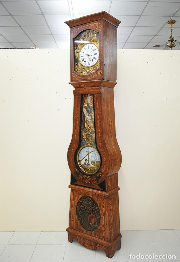 Relojes de pie: RELOJ ANTIGUO DE PIE TIPO MOREZ CAJA DE MADERA Y MARQUETERÍA - Foto 15 - 185770253