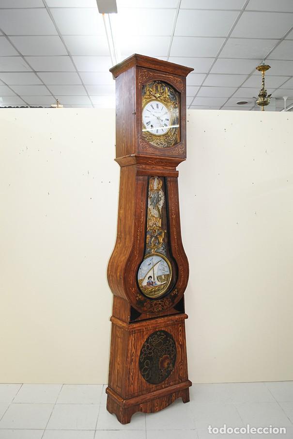 Relojes de pie: RELOJ ANTIGUO DE PIE TIPO MOREZ CAJA DE MADERA Y MARQUETERÍA - Foto 16 - 185770253