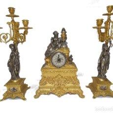 Relojes de pie: RELOJ CANDELABROS BRONCE VINTAGE. Lote 186464947
