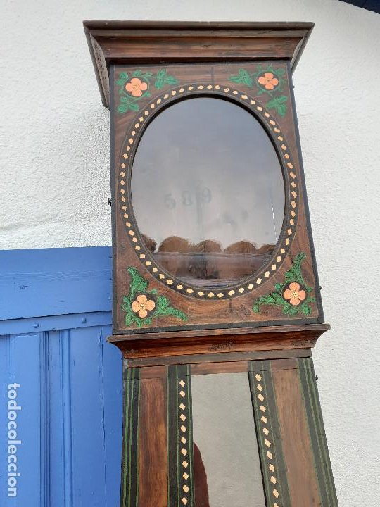 Relojes de pie: Caja de reloj Morez del XIX con escena campestre - Foto 2 - 194145632
