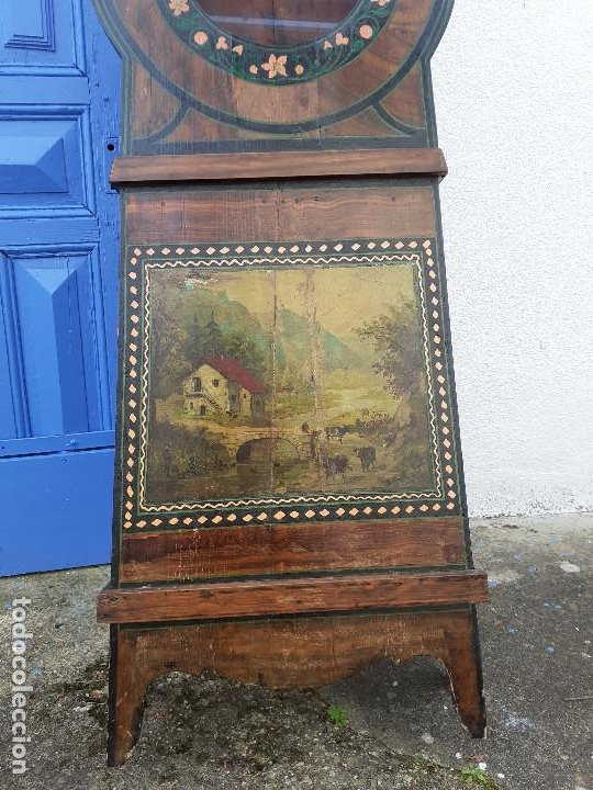 Relojes de pie: Caja de reloj Morez del XIX con escena campestre - Foto 4 - 194145632