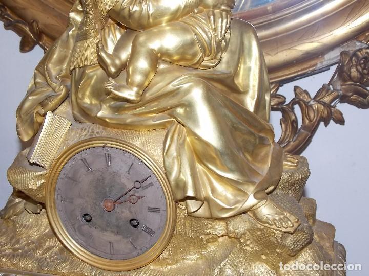 Relojes de pie: ANTIGUO PIE RELOJ CON ESCULTURA DE BRONCE - Foto 5 - 194173420