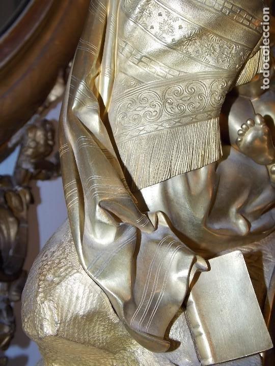 Relojes de pie: ANTIGUO PIE RELOJ CON ESCULTURA DE BRONCE - Foto 7 - 194173420