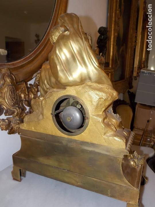 Relojes de pie: ANTIGUO PIE RELOJ CON ESCULTURA DE BRONCE - Foto 8 - 194173420